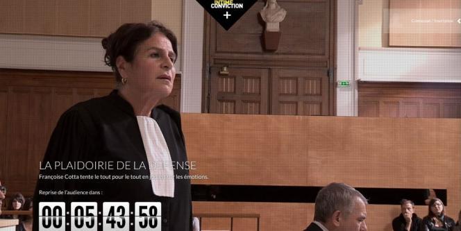 Capture d'écran du procès fictif «Intime conviction» sur le site Arte.tv.