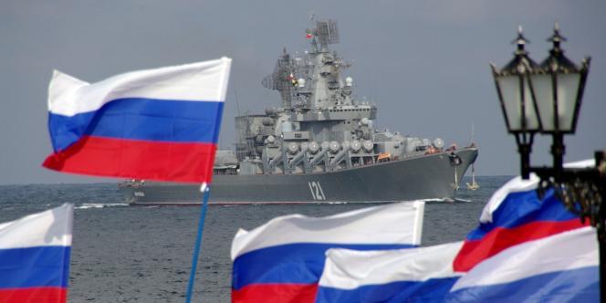 Un navire de l'armée russe, en 2008 lors de manœuvres à Sébastopol, en Crimée.