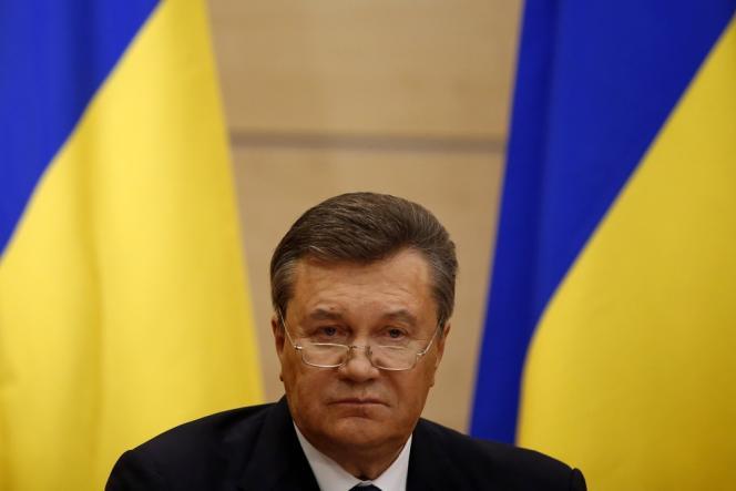 Le président ukrainien déchu Viktor Ianoukovitch lors d'une conférence de presse depuis la ville de Rostov-on-Don, en Russie, le 28 février 2014.