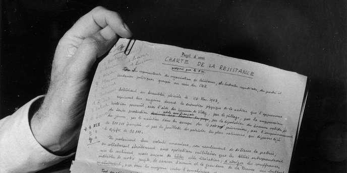 Manuscrit de la charte de la Résistance.