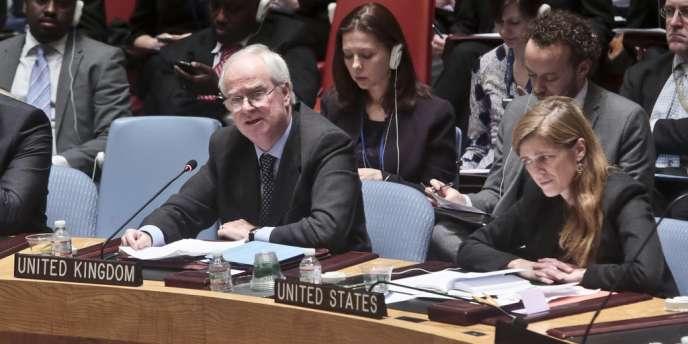 L'ambassadrice américaine auprès de l'ONU, Samantha Powers et son homologue britannique, Lyall Grant, le 22 février, au siège des Nations Unies à New York.