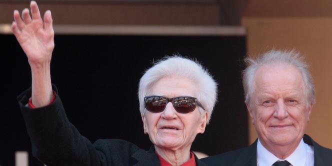 Alain Resnais et André Dussollier en mai 2009, lors du Festival de Cannes.