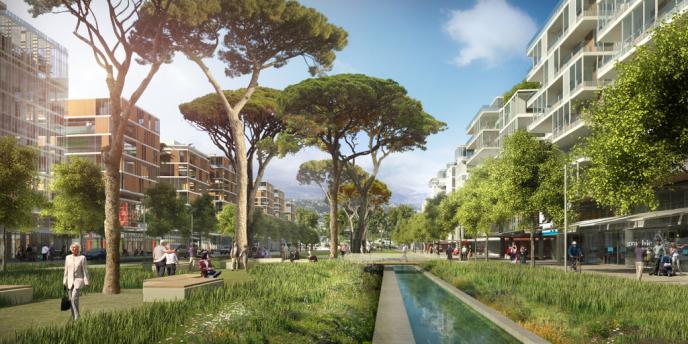 Nice Méridia mise sur la mixité, avec un urbanisme mélangeant les bureaux, les logements et les commerces.