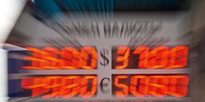 A Moscou, le 3 mars 2014. Le gouvernement russe annonce des mesures pour «stabiliser» le rouble alors que la monnaie russe s'est effondrée de plus de 20% en deux jours.
