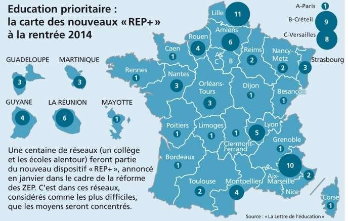La répartition des REP+ à la rentrée 2014.