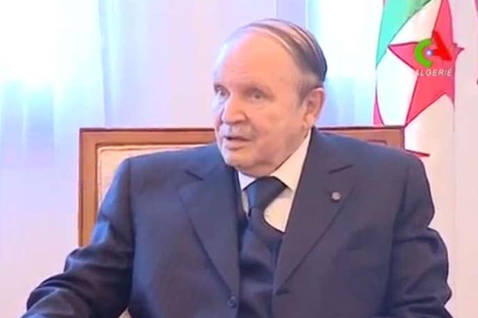 Capture d'écran de la retransmission de la prise de parole d'Abdelaziz Bouteflika, le 3 mars.