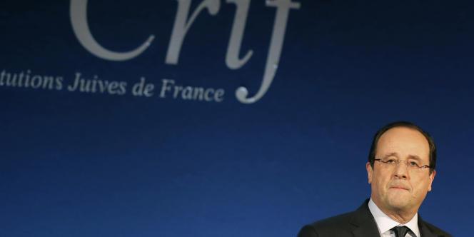 François Hollande lors du dîner du Crif à Paris, le 4 mars.
