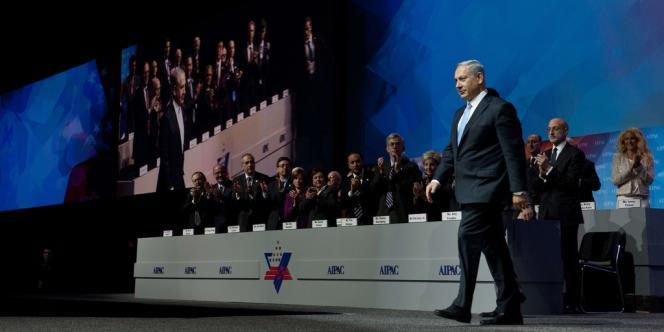 Benyamin Nétanyahou devant le Comité américain pour les affaires publiques israéliennes (AIPAC), mardi 4 mars à Washington.