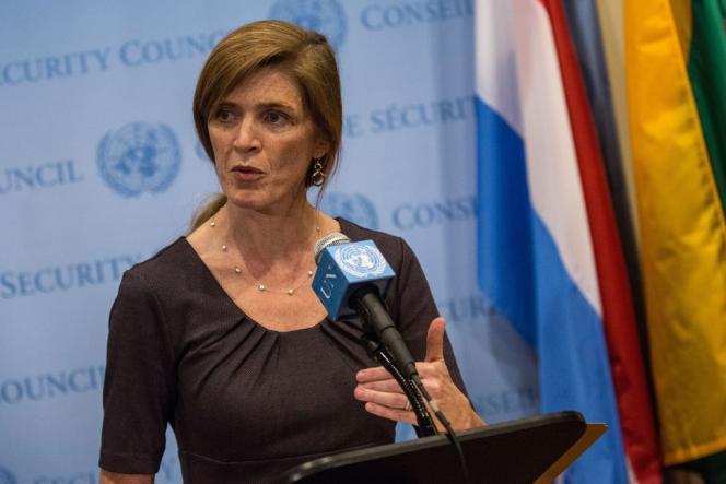 Samantha Power, ambassadrice américaine à l'ONU, le 6 mars après la réunion du Conseil de sécurité sur l'Ukraine.