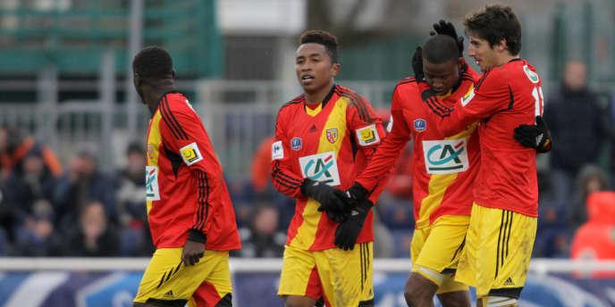 Des joueurs du RC Lens, le 4 janvier à Avranches.
