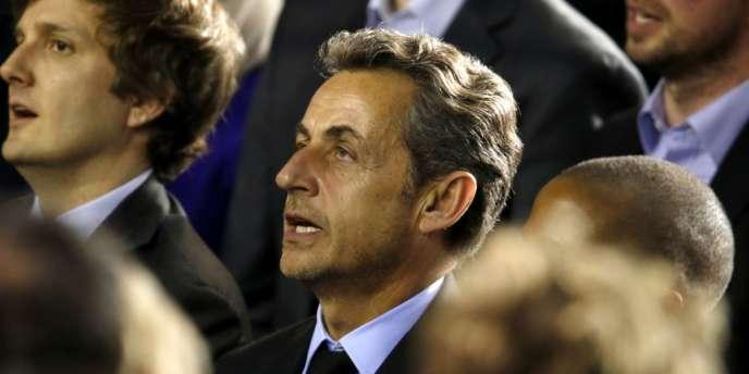 Nicolas Sarkozy lors du meeting de la candidate UMP à la mairie de Paris, le 10 février.