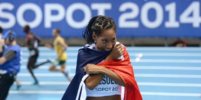 Eloyse Lesueur, championne du monde de saut en longueur aux Mondiaux en salle de Sopot, dimanche 9 mars.