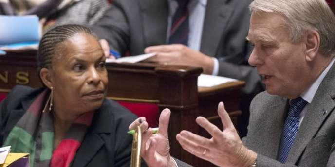 La ministre de la justice Christiane Taubira et le premier ministre Jean-Marc Ayrault.