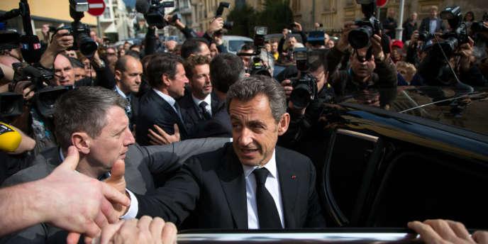 Nicolas Sarkozy, pour l'inauguration de l'Institut Claude-Pompidou consacré à la lutte contre la maladie d'Alzheimer, à Nice, lundi 10 mars.