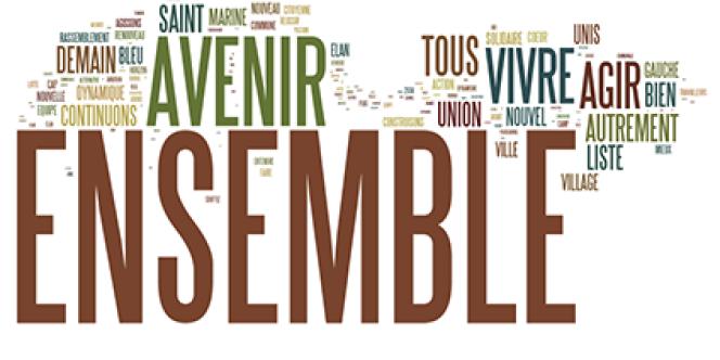 Termes les plus fréquents sur les listes électorales dans les villes de plus de 1000habitants, mars2014.