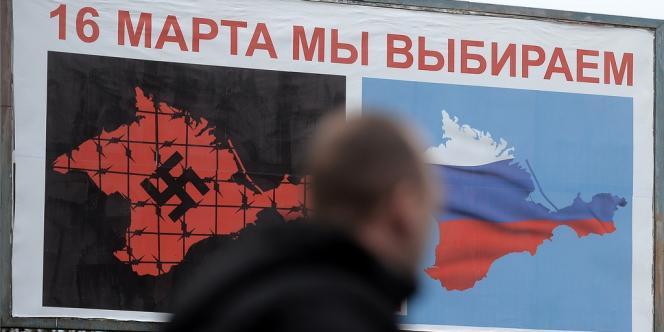Affiche invitant les électeurs à choisir entre une Crimée