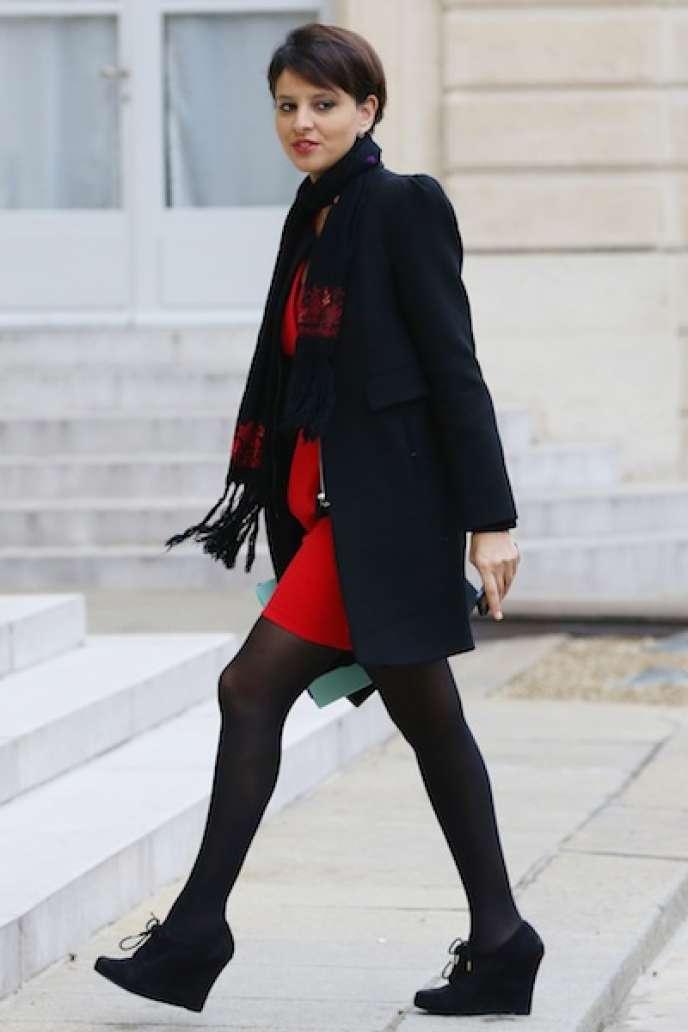 La ministre des droits des femmes et porte-parole du gouvernement Najat Vallaud-Belkacem, à l'Elysée, le21février.
