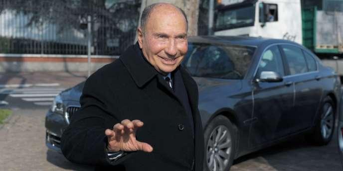 Serge Dassault, le 13 mars 2013, au siège de Dassault Aviation, à Saint-Cloud (Hauts-de-Seine).