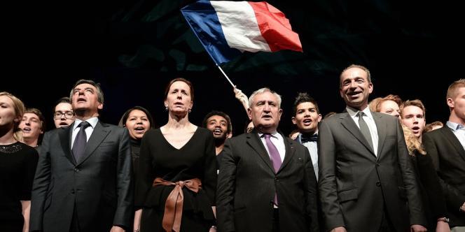 Francois Fillon, Fabienne Keller, Jean-Pierre Raffarin, et Jean-Francois Copé à Strasbourg, le 5 mars.