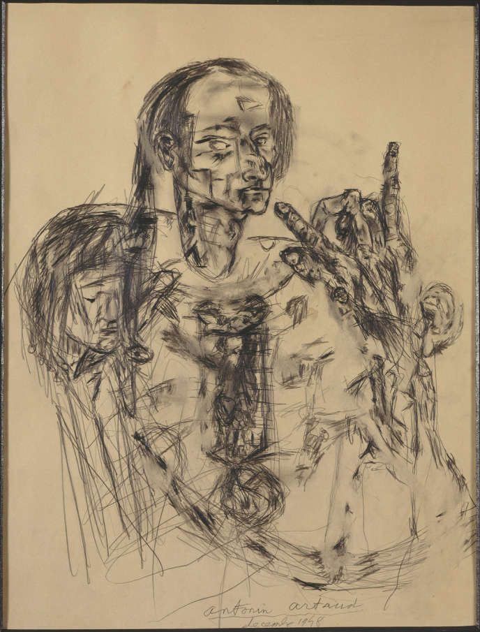 Antonin Artaud (1896-1948), Autoportrait, décembre 1947. Mine graphite sur papier, 64 x 50 cm , Paris, Centre Pompidou, Musée national d'Art Moderne / Centre de création industrielle, legs de Mme Paule Thévenin, 1994.