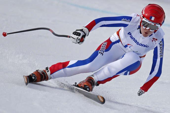 Marie Bochet, quadruple championne paralympique, lors de l'épreuve de descente à Sotchi, le8mars2014.