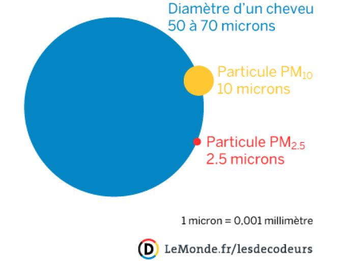 Comparaison entre le diamètre d'un cheveu et des particules fines PM10 et PM2,5.