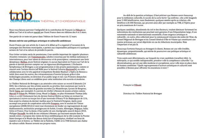 Capture d'écran du mail envoyé aux abonnés du théâtre national de Bretagne.