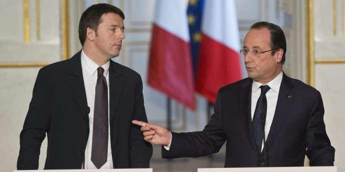 Matteo Renzi et François Hollande, lors d'une conférence de presse commune, le 15 mars 2014.