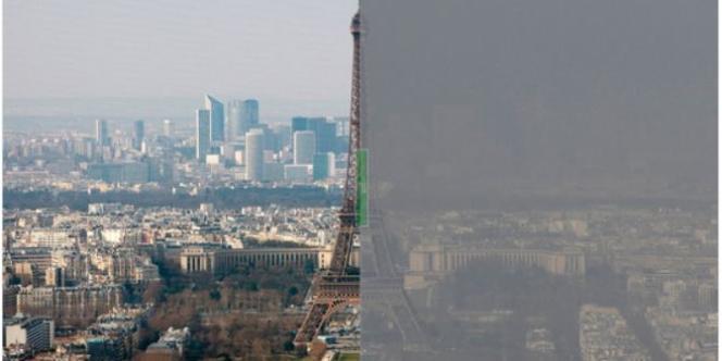 La tour Eiffel prise dans la pollution, le 13 mars.