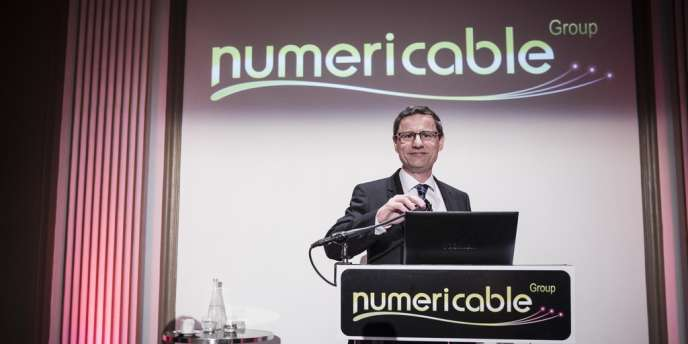 Eric Denoyer, le PDG de Numericable, à l'occasion de la présentation des résultats de l'entreprise, le 12 mars