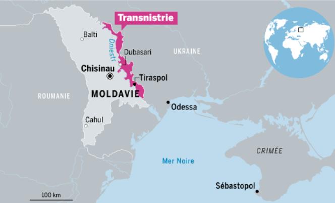 Carte de situation de la Transnistrie en Moldavie.