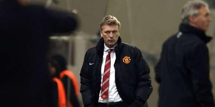 David Moyes, le 25 février lors de la cinglante défaite de Manchester United, 2-0, sur la pelouse de l'Olympiakos en huitième de finale aller de la Ligue des champions.