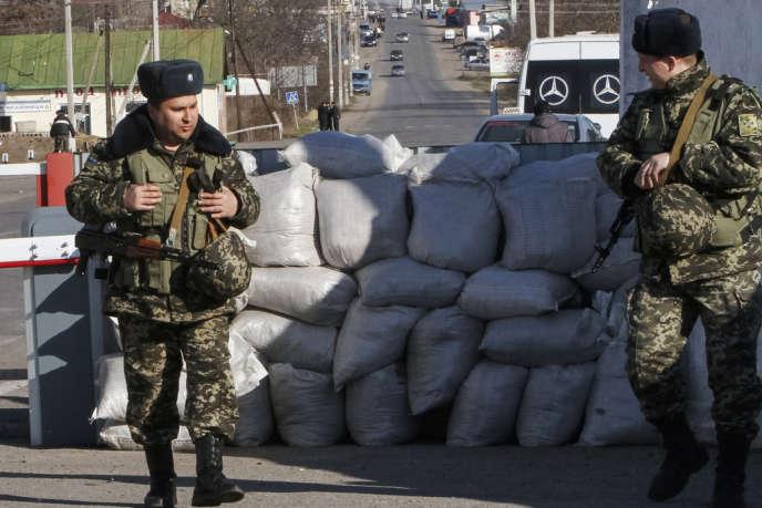A la frontière entre l'Ukraine et la Transnistrie, le 13mars.