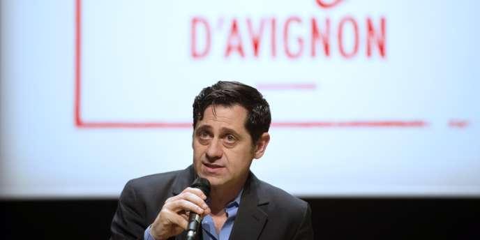 Le directeur du Festival d'Avignon, Olivier Py, lors de la conférence de presse de l'édition 2014 à Avignon, le 20 mars 2014.