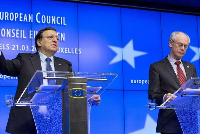 José Manuel Barroso et Herman Van Rompuy, le 21 mars à Bruxelles.