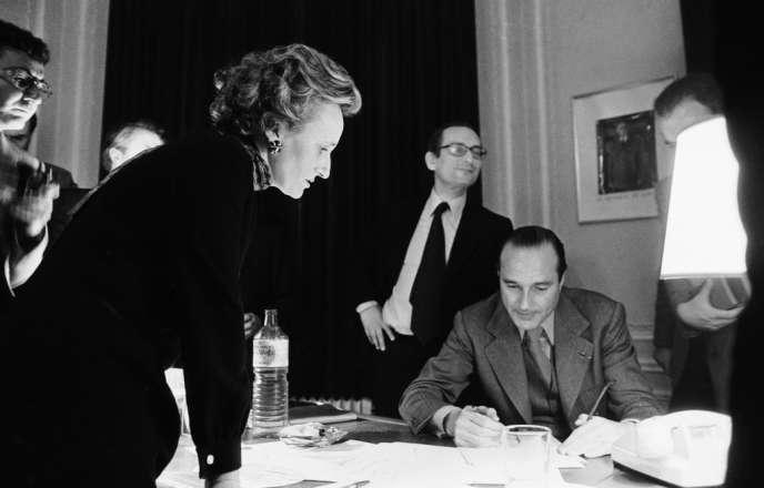 Jacques Chirac au siège du RPR, rue de Lille à Paris, lors du second tour des municipales, le 20 mars 1977. NE PAS UTILISER