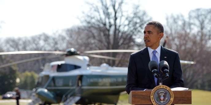 Le président Barack Obama a pris la parole, jeudi 20 mars, dans les jardins de la Maison Blanche, à Washington, pour critiquer l'annexion de la Crimée par Moscou.