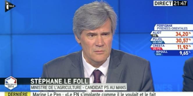 Le ministre de l'agriculture Stéphane Le Foll, le 23 mars 2014 sur I>Télé