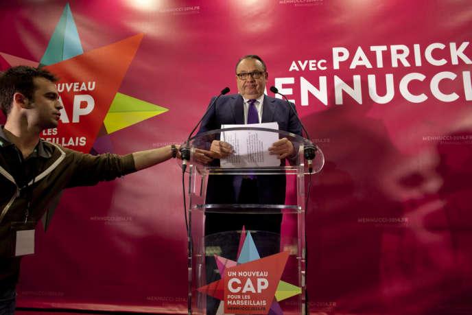 Patrick Mennucci après l'annonce des résultats du premier tour des élections municipales, le23mars.
