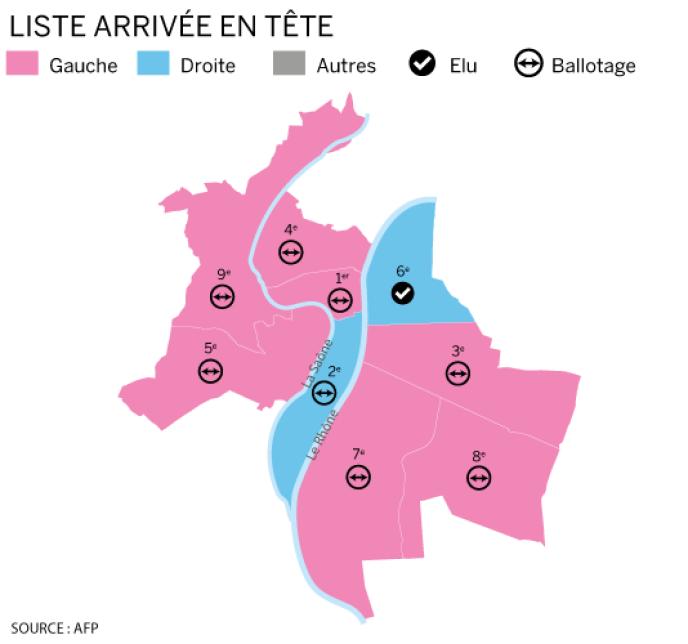 Les arrondissements de Lyon au soir du premier tour des élections municipales, dimanche23mars.