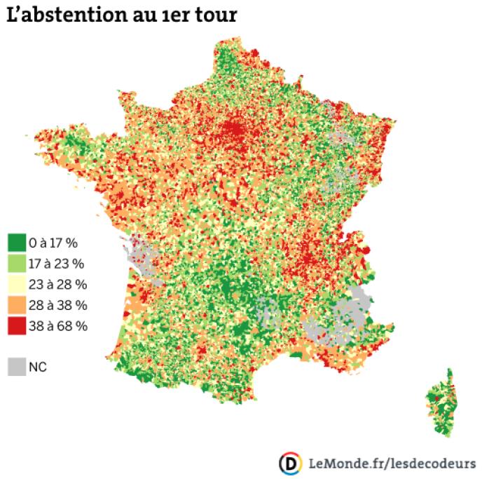 Carte de l'abstention au premier tour des municipales 2014, faite à partir des données partielles lundi 24 mars.