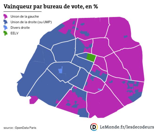 Municipales à Paris : les vainqueurs par bureau de vote.