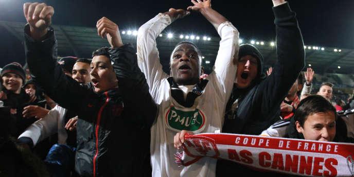L'attaquant rwandais Elias Uzamukunda, le 11 février, après la qualification de Cannes au détriment de Montpellier.