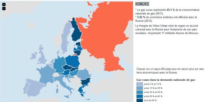Carte des dépendances économiques de l'Union européenne et de la Russie.