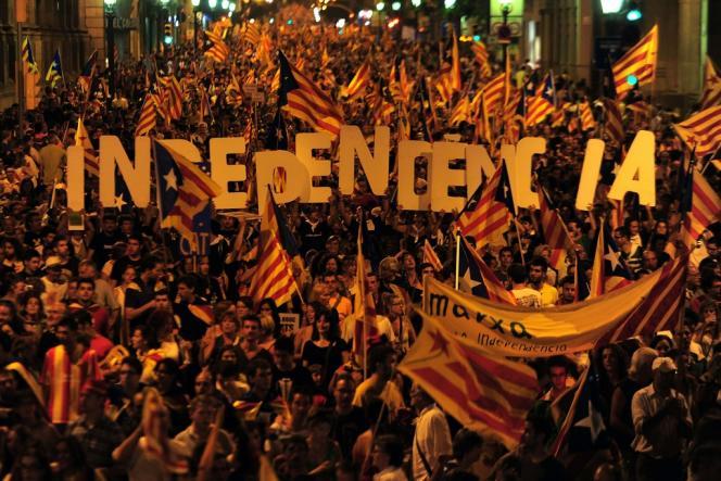 Le 11 septembre 2012, à Barcelone, lors de la grande manifestation pour l'indépendance catalane.