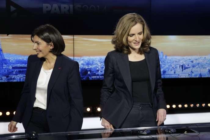 Anne Hidalgo et Nathalie Kosciusko-Morizet lors d'un débat sur i>Télé, le 26 mars 2014.