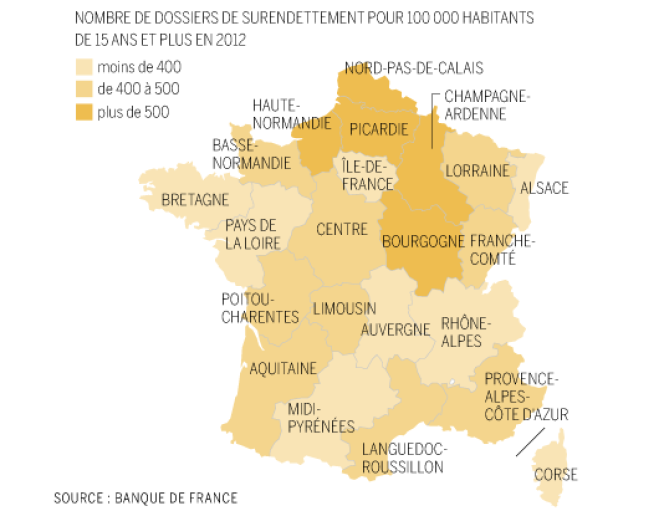 La carte de France du surendettement.
