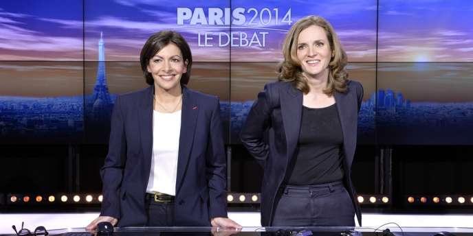 Anne Hidalgo (PS) et Nathalie Kosciusko-Morizet (UMP) avant un débat sur i-Télé et RTL, le 26 mars.
