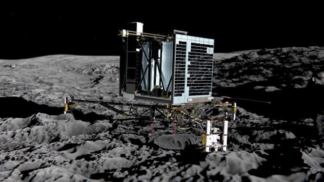 Vue d'artiste du robot Philae sur la comète 67P/Churyumov-Gerasimenko.