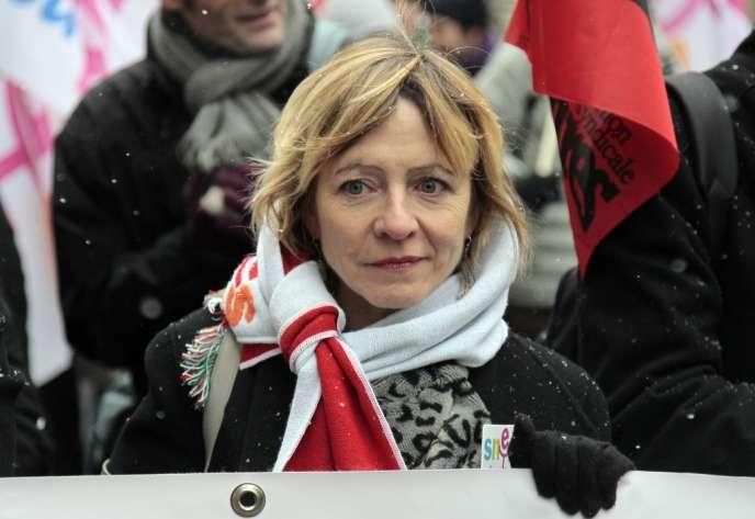 La cosecrétaire générale du SNES-FSU, Frédérique Rolet, à Paris, en 2010.